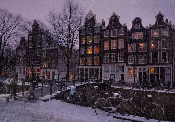 Winter evening in Amsterdam.