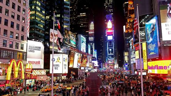 Times Square bei Nacht HD Wallpaper.