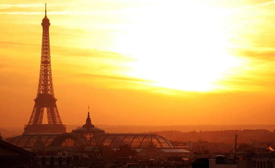 Beautiful sunset in Paris.