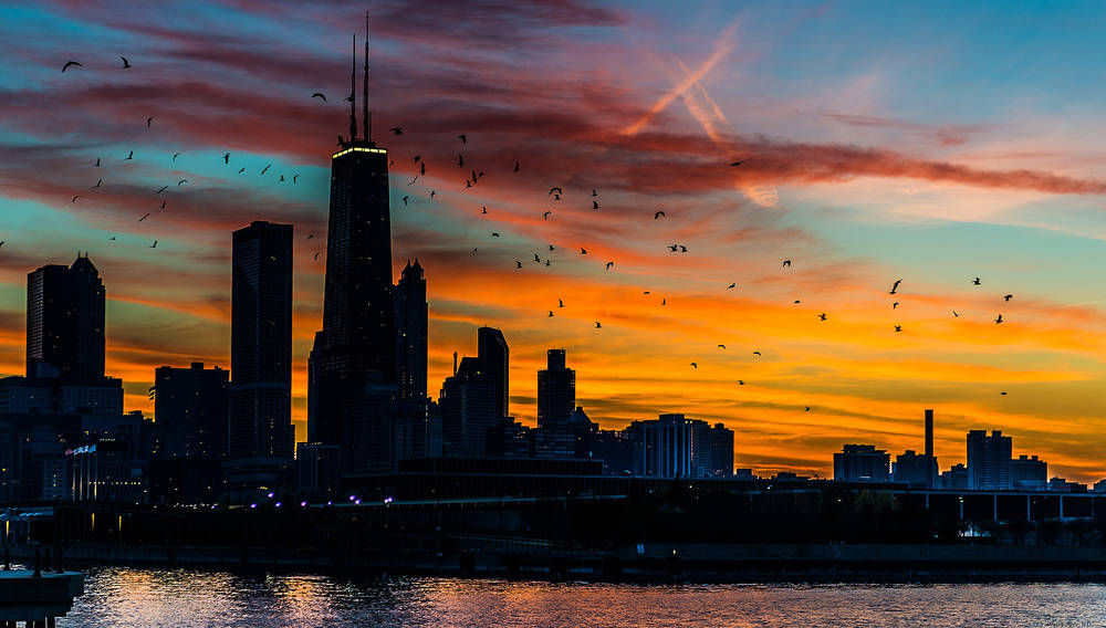 Tramonto a Chicago.