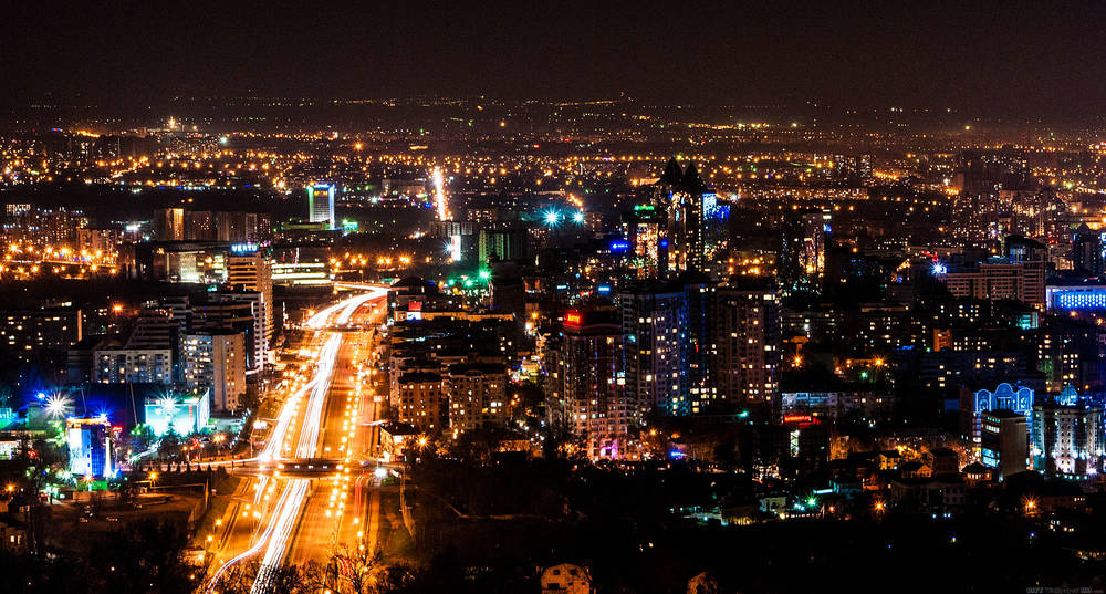 Night Almaty.