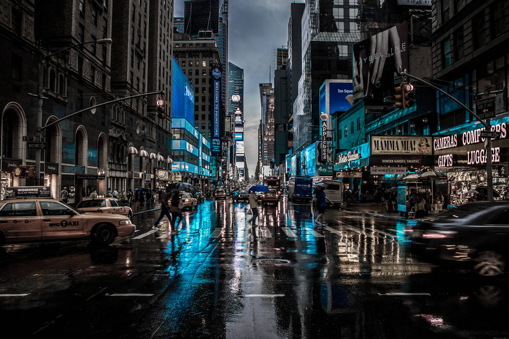 Via di notte a New York.