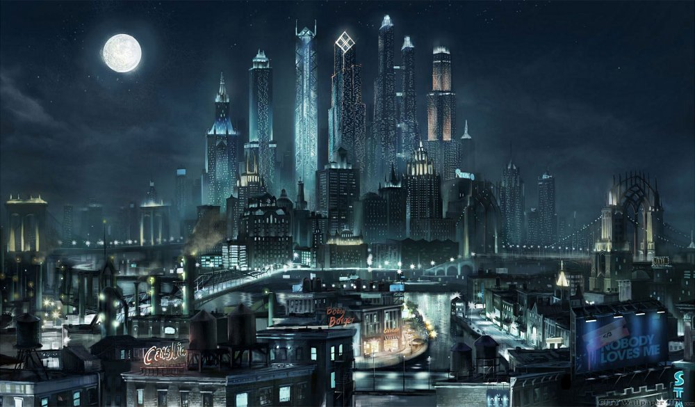 Cool wallpaper with magnificent and beautiful metropolis, sunk in gloom of night.