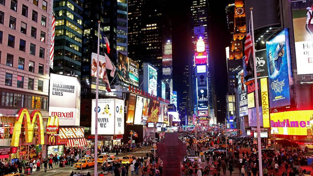 Times Square at night HD wallpaper.