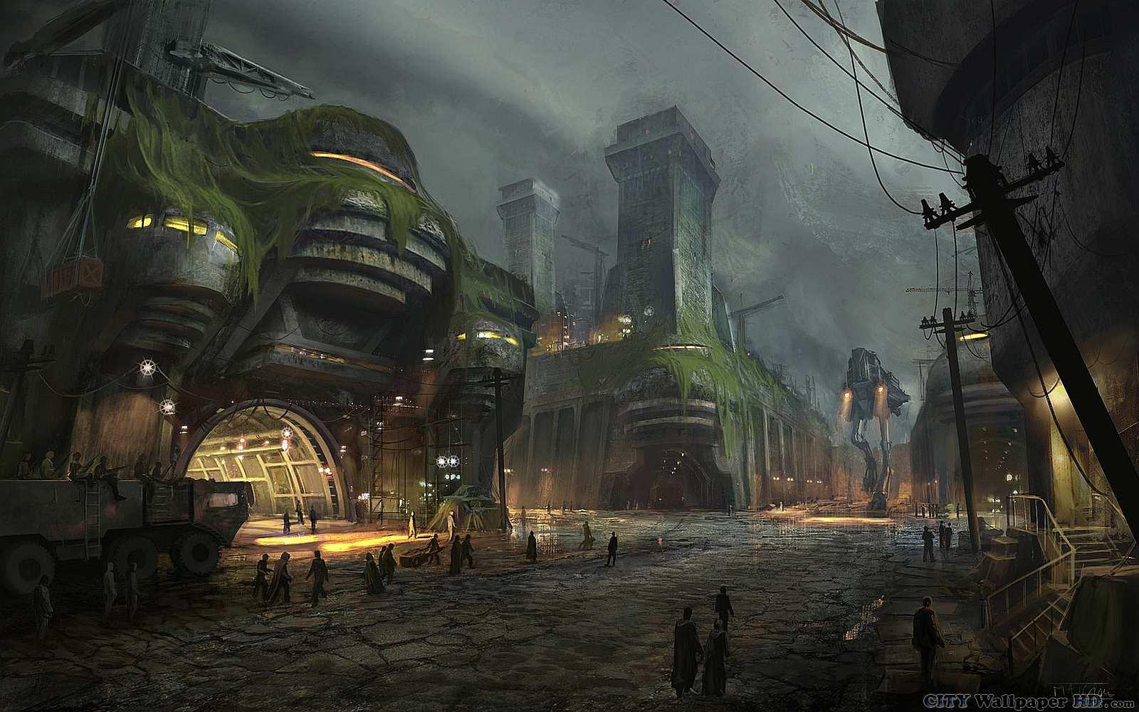 Ilustracao de silhueta plana cidade escura noite sombria ? Vetores ...