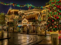 Area of ​​the city with elegant chic street transformed to a fabulous holiday Merry Christmas.