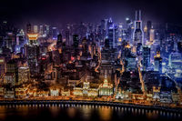 Night in a colorful Shanghai.