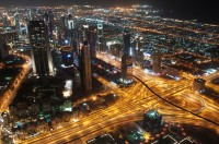 City roads, money and oil UAE Dubai.