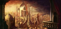 The golden city on a beautiful mythical wallpaper.